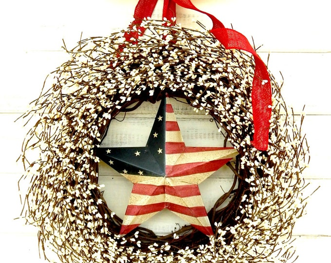 Featured listing image: 4th July Wreath-PATRIOTIC Door Wreath-Star Wreath-Summer Wreath-4th July Wreath-Scented Wreaths-Holiday Home Decor-Front Door Wreaths