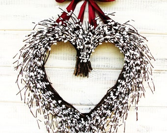 Wedding Wreath-Weddings-Heart Wreath-Rustic Wedding- Wreath Decor-Heart Wreath-BURGUNDY & WHITE Heart Wreath-Woodland Wedding-Housewarming