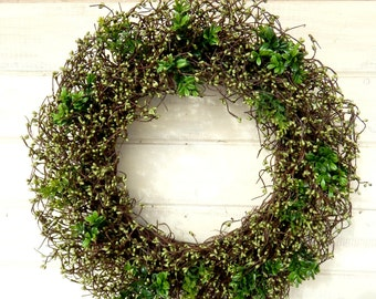 St Patricks Day Wreath-St Patricks Decor-Spring Wreath-Large WREATH-Wreath for March-Large Grapevine Wreath-Berry Wreaths-Housewarming Gifts