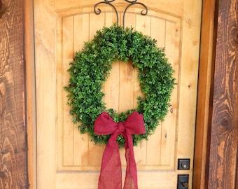 Winter Wreath-BOXWOOD Wreath-Valentine Door Wreath-Artificial Boxwood Wreath-Burlap Wreath-Large Door Wreath-Year Round Outdoor Wreath
