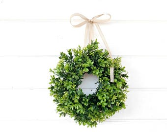 mini boxwood wreath spring boxwood window wreath boxwood wreath country cottage wreath artifical boxwood wreath wall hanging small wreath - Small Christmas Wreaths
