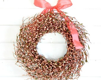 Spring Wreath-Easter Door Wreath-Summer Wreath-PINK BERRY WREATH-Summer Door Wreath-Country Chic Home Decor-Scented Wreath-Gift for Mom