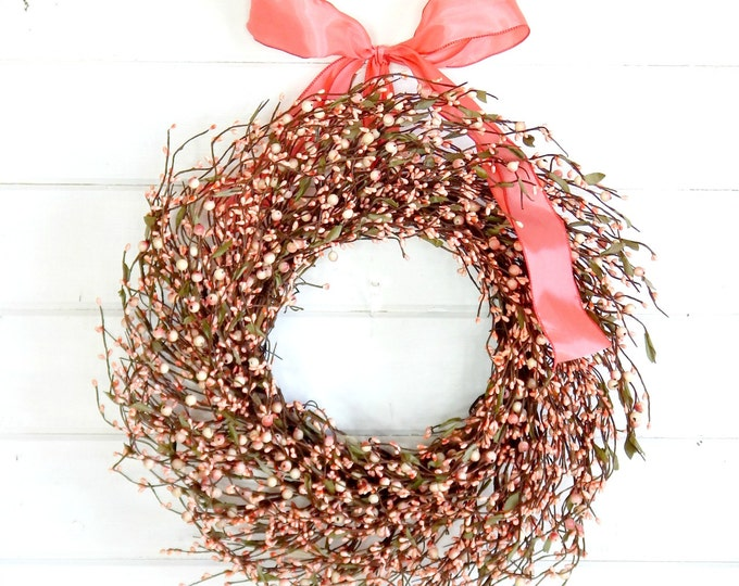 Featured listing image: Spring Wreath-Easter Door Wreath-Summer Wreath-PINK BERRY WREATH-Summer Door Wreath-Country Chic Home Decor-Scented Wreath-Gift for Mom