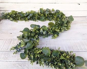 ENCLAVE Mixed Eucalyptus Garland-Frosted Eucalyptus-Farmhouse Décor-Greenery-Spring Garland-Wedding Centerpiece-Wedding Décor-Table Runner