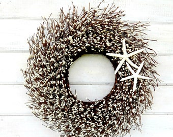 Beach Decor-COASTAL STAR FISH Wreath-White Twig Wreath-Star Fish Decor-Coastal Home Decor-Bathroom Wall Hanging-Beach Decor-Beach Home-Gift