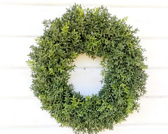 Boxwood Wreath-Farmhouse Decor-New England Boxwood Wreath-Farmhouse Wreath-Wreaths-Fall Wreath-YearRound Wreath-Outdoor Wreath-Housewarming
