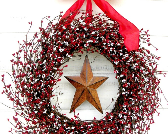Featured listing image: Summer Wreath-4th of July Wreath-Star Wreath-Primitive Home Decor-Holiday Door Wreath-Rustic Home Decor-Scented Door Wreath