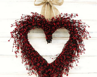 Valentines Day Wreath-Valentines Day Home Decor-Winter Wreath-RED HEART WREATH-Wedding Gift-Housewarming Gift-Valentines Day-Wreath-Gifts