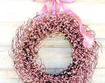 Spring Wreath-Spring Door Wreath-Wedding Wreath-Pink Berry Wreath-Wedding Decor-PINK Bedroom Decor-Its a Girl-Baby Shower Gift-Baby Nursery