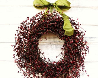 Fall Wreath-Rustic Wreath-Primitive Wreath-Housewarming Gift-Burgundy Berry Wreath-Primitive Country Home Decor-Custom SCENTED Wreaths