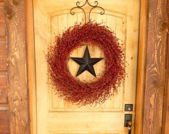 Summer Wreath-Patriotic Door Wreath-Primitive Home Decor-Large STAR Wreath-Primitive Country Wreath-Texas Star-Western Decor-Custom Gift