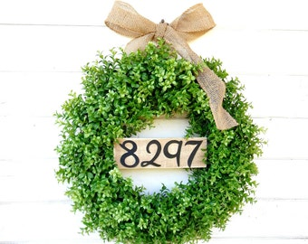 BOXWOOD Wreath-Door Sign-House Number-Fall Wreath-Outdoor Wreath-Year Round Wreath-Home Decor-Artificial Wreath-Custom Made USA-Gifts