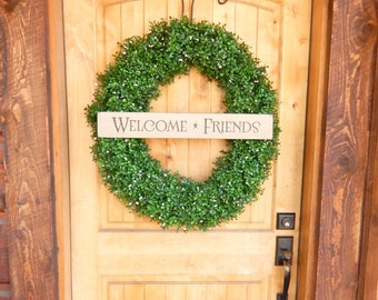 Large Welcome Wreath-BOXWOOD Wreath-SCENTED Wreaths-Artificial Boxwood Wreath-Summer Door Wreath-Year Round Wreath-Outdoor Wreath-Gifts