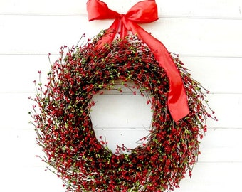 Christmas Wreath-Christmas Door Wreath-Holiday Wreath-RED & GREEN Wreath-Christmas Home Decor-Scented Wreaths-Custom Gifts-Holiday Decor