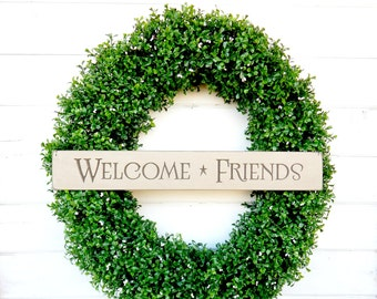 Welcome Sign-BOXWOOD Wreath-Welcome Wreath-LARGE Boxwood Wreath-Faux Boxwood Door Wreath-Summer Wreath-Fall Wreath-Year Round Wreath-Gift