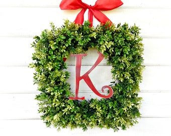 Summer Wreath-MONOGRAM Boxwood Wreath-SQUARE BOXWOOD Door Wreath-Spring Door Wreath-Housewarming Gift-Initial Wreath-Year Round Wreath-Gifts