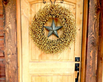 Fall Wreath-Fall Decor-YELLOW Wreath-Barn Star Wreath-Large Wreath-Texas Star-Primitive Country Decor-Wreaths-Housewarming Gifts-Home Decor