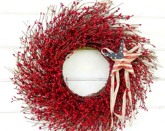 4th July Wreath-Patriotic Primitive Star Wreath-Summer Wreath-July 4th Door Wreath-RED Twig Wreath-Rustic Holiday Home Decor-Scented Wreaths