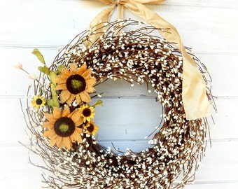 Spring Wreath-Spring Door Wreaths-Summer Wreath-SUNFLOWER WREATH-Farmhouse Decor-Country Chic Door Wreath-Scented Wreaths-Housewarming Gift