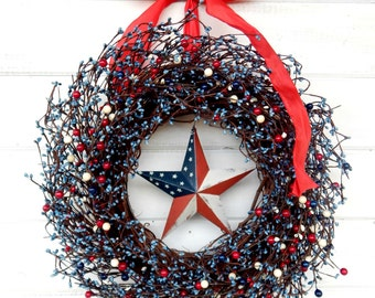 Patriotic RED WHITE & BLUE Door Wreath-Military Decor-Holiday Door Decor-Patriotic Home Decor-Scented Wreaths-Military Wall Decor