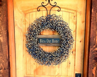 Door Sign-WinterWreath-BLESS OUR HOME-Large Country Blue & Antique White Wreath-Housewarming Gift-Wedding Gift-Country Home Decor-Gifts
