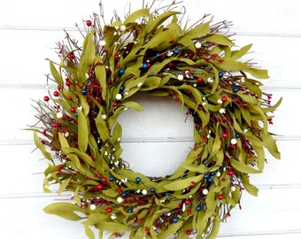 Patriotic Wreath-Military Door Wreath-Twig Wreath-July 4th Home Decor-Americana Wreath-Military Wreath-USA Decor-4th of July Wreath-Gifts