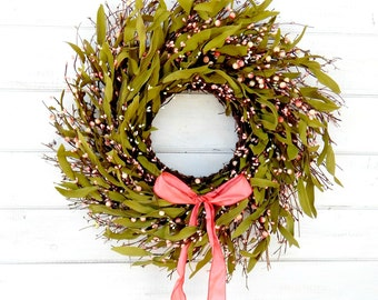 Mothers Day-Spring Wreath-Spring Door Wreath-Spring Home Decor-Rustic Twig Wreath-SCENTED Door Wreath-Housewarming Gifts-Front Door Decor-