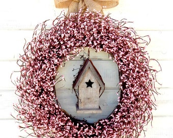 Spring Wreath-Pink Wreath-Easter Door Wreath-SHABBY CHIC PINK Birdhouse Wreath-Summer Wreath-Scented Wreaths-Choose Scent and Ribbon