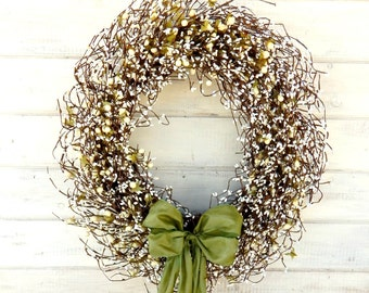 LARGE Wedding Wreath-Spring Wedding Decor-SAGE & CREAM Door Wreath-Summer Wedding- Winter Door Wreath-Front Door Decor-Wedding Decorations