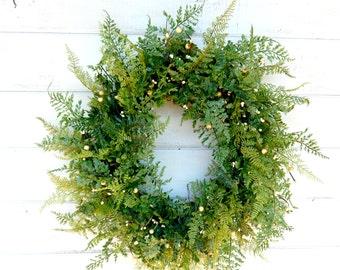FERN Wreath-Summer Wreath-Front Door Wreath-Wedding Decor-Housewarming Wreath-Scented Wreath-Year Round Wreath-Home Decor-Outdoor Wreath-
