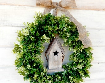 Greenery Wreath-BIRDHOUSE Wreath-BOXWOOD Wreath-Front Door Wreath-Spring Wreath-Spring Decor-Year Round Wreath-Outdoor Wreath-Housewarming