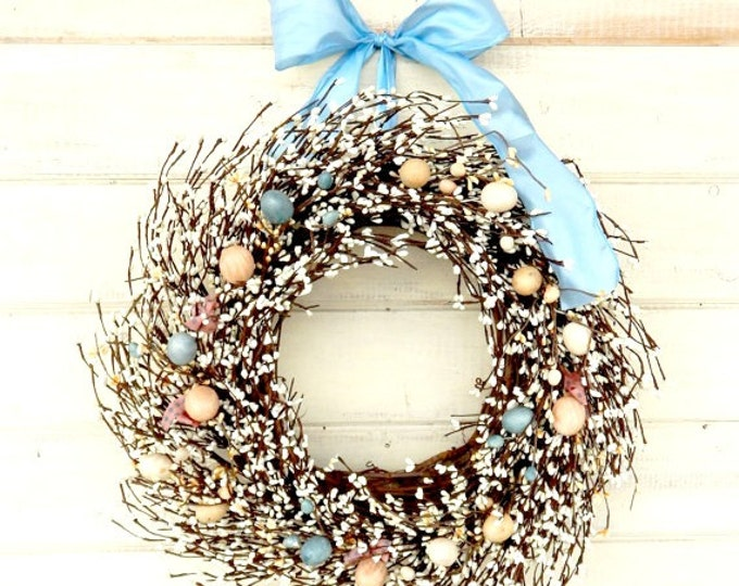 Featured listing image: Easter Wreath-Spring Door Wreath-Easter Home Decor-Holiday Wreath-Easter Door Decor-Scented Wreaths-Custom Made-Choose Scent and Ribbon