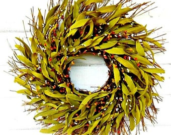 Fall Wreath-Door Wreath-Fall Decor-ORANGE & YELLOW Bay Leaf Wreath-Rustic Twig Wreath-Thanksgiving Wreath-Greenery Wreath-Housewarming Gift