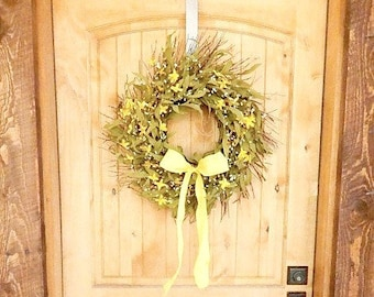 Fall Door Wreath-Fall Home Decor-Rustic Twig Wreath-Farmhouse Decor-COUNTRY YELLOW Twig Wreath-Rustic Wreath-Scented Door Wreath-Gifts USA
