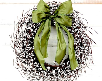 Spring Wreath-Spring Home Decor-Wedding Decor-Gift-WHITE Berry Wreath-Housewarming Gifts-Wedding Gift-Country Chic Decor-Custom Made USA