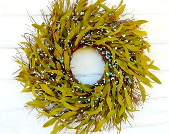 Winter Wreath-Spring Wreath-Rustic Twig Wreath-TEAL Wreath-Bay Leaf Wreath-Rustic Wreath-Front Door Wreath-Greenery Wreath-Home Decor-Gift