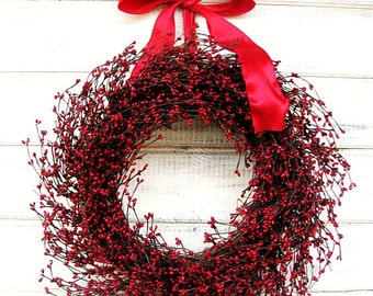 Christmas Decor-Winter Wreath-Farmhouse Decor-RED BERRY Wreath-Holiday Wreath-Wreath for fireplace-Mantle Wreath-Housewarming Wreath-Gift
