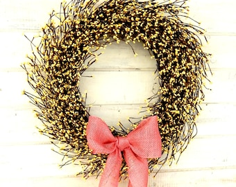 Spring Wreaths-Spring Weddings-Easter Wreath-Summer Door Wreath-Yellow Berry Wreath-Housewarming Gift-Mother's Day Wreath-Scented Wreath