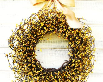 Spring Wreaths-Spring Home Decor-YELLOW Berry Wreath-Summer Home Decor-Gift for Mom-Wreaths-Housewarming Gift-Custom Made USA-Gifts
