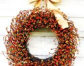 Fall Wreath-Autumn Door Decor-Thanksgiving Wreath-Orange & Yellow Wreath-Fall Home Decor-Farmhouse Decor-Farmhouse Wreath-Housewarming Gift
