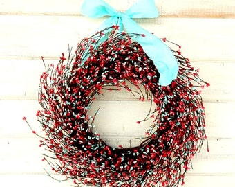 Spring Wreath-CORAL PINK & TEAL Door Wreath-Summer Door Decor-Shabby Chic Wedding-Wedding Gift-Gift for Mom-Baby Nursery Decor-Wall Hanging