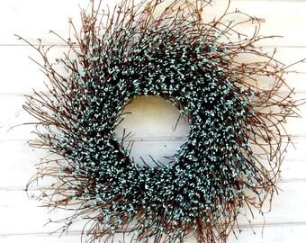 Large TEAL BLUE Twig Wreath-Scented Wreaths-Rustic Twig Wreath-Wall Hanging-Teal Blue Home Decor-Aqua Blue Wreath-Housewarming Gift-Wreaths