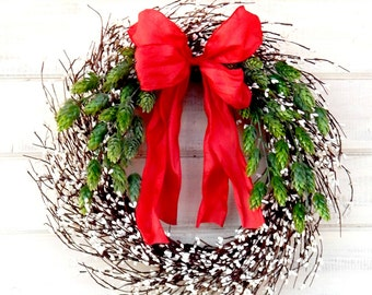 New Years Wreath-Winter Wreath-HOLIDAY DOOR WREATH-Winter Home Decor-New Years Door Wreath-Holiday Home Decor-Door Wreath-Housewarming