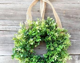 Mini Boxwood Wreath-Mini Wreath-Scented Window Wreath-Country Cottage Wreath-Kitchen Decor-Artifical Boxwood Wreath-Wall Hanging-Wall Decor-