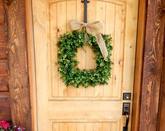 Boxwood Wreath-Square Wreath-BURLAP BOXWOOD Wreath-Door Wreath-Housewarming Gift-Outdoor Wreath-Summer Wreath-Wedding Gift-Custom Made USA
