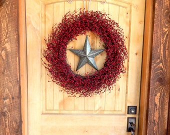 Summer Wreath-4th of July Wreath-Texas Star Wreath-Fall Wreaths-Large RED & SILVER  BARN Star Wreath-Country Home Decor-Primitive Country