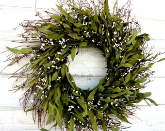 Spring Wreath-Farmhouse Wreath-Rustic Twig Wreath-Summer Wreath-Housewarming Gift-BAY LEAF Wreath-Year Round Wreath-Holiday Home Decor-Gifts