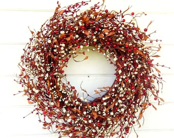 Summer Wreath-Fall Door Wreath-Red & Cream Wreath-Farmhouse Wreath-Fall Door Decor-Rustic Home Decor-Housewarming Gift-Door Wreath-Gift