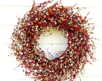 Christmas Wreath-Winter Wreath-Winter Door Wreath-Holiday Wreath-Red & Cream Wreath-Farmhouse Wreath-Rustic Home Decor-Housewarming Gift-