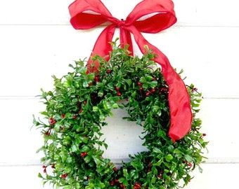 Mini Boxwood Wreath-Mini Christmas Wreath-RED Berry Wreath-Christmas Wreath-Kitchen Decor-Boxwood Wreath-Wall Hanging-Holiday Home Decor